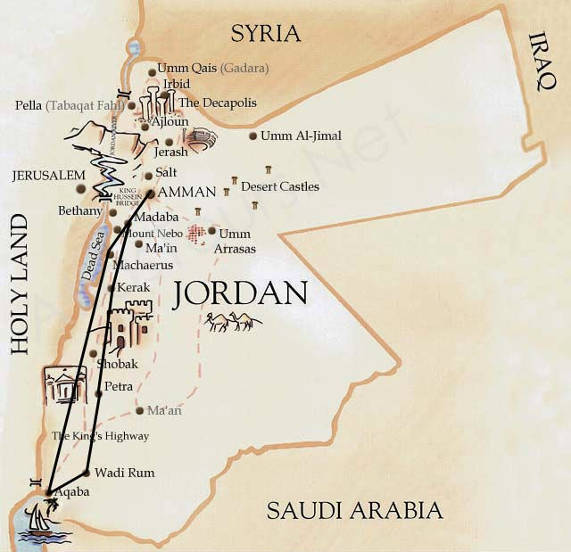 Jordan Road trip (Image Courtesy: Printable-maps.blogspot.in)