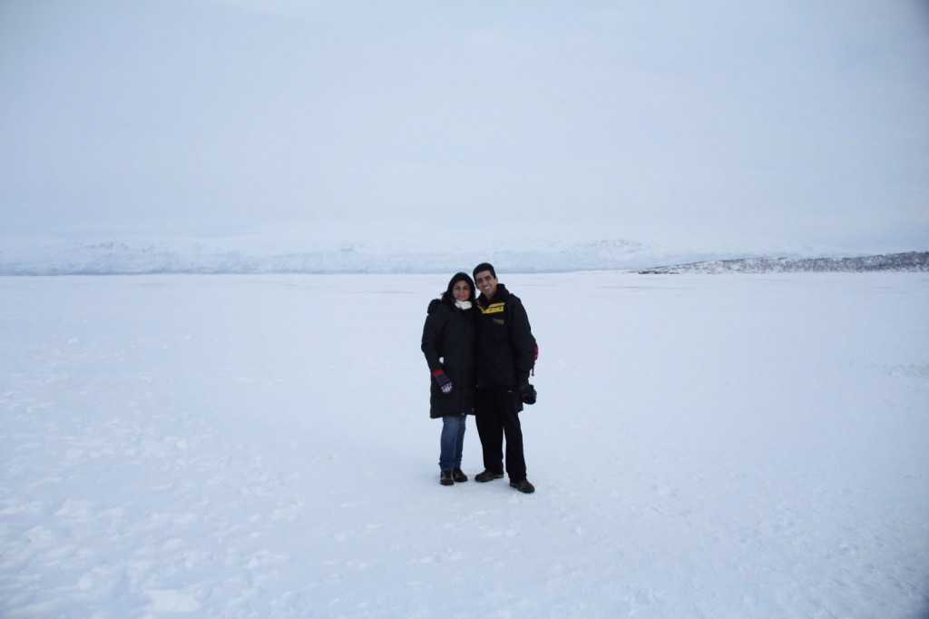 Standing on the frozen lake at Abisko at -20 degrees Centigrade