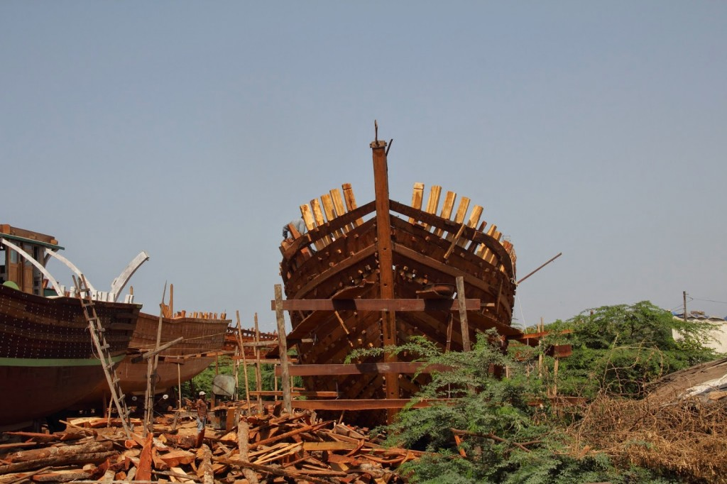 Ship building at Veraval (the man to the left of the ship will give you a sense of the size)
