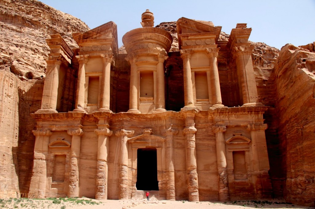 Petra: Al Dier, The Monastery: I am the little blob of red at the base of the megastructure