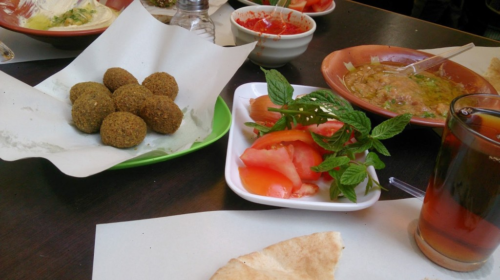 Vegetarian meal at Hashem's, Amman, Jordan