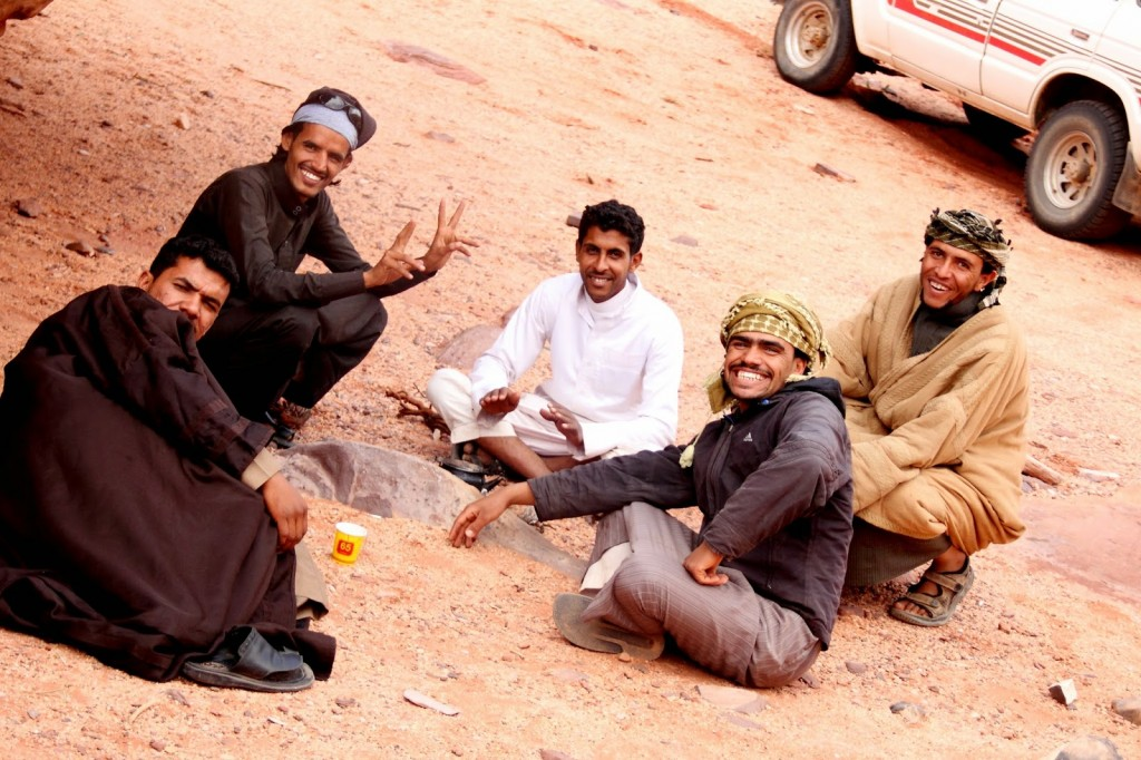 Wadi Rum: Bedouin guides enjoying some tea