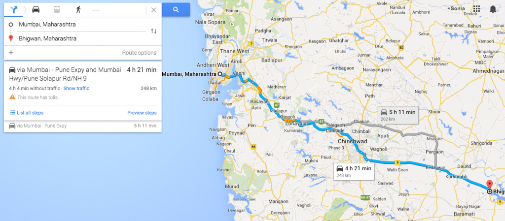 Mumbai - Bhigwan route (pic courtesy: Google Maps)