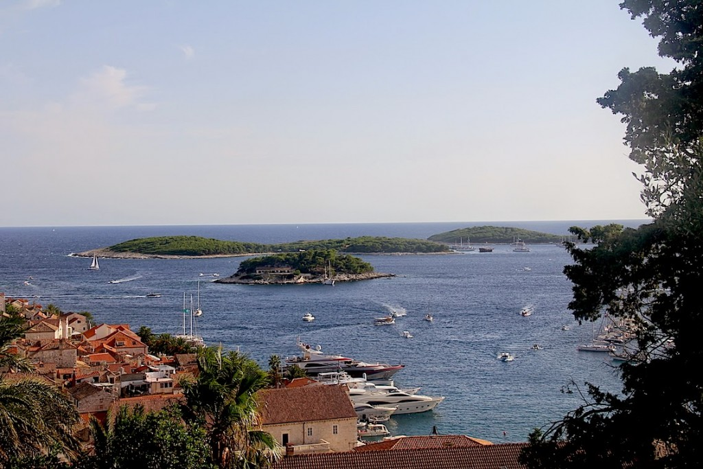 Hvar: Jerolim and the Pakleni Island from the base of the Fortress