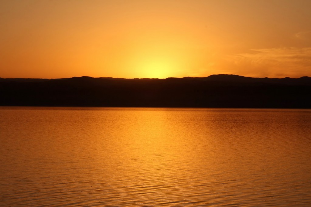 Dead Sea: Orange glow after the sunset - awesome!