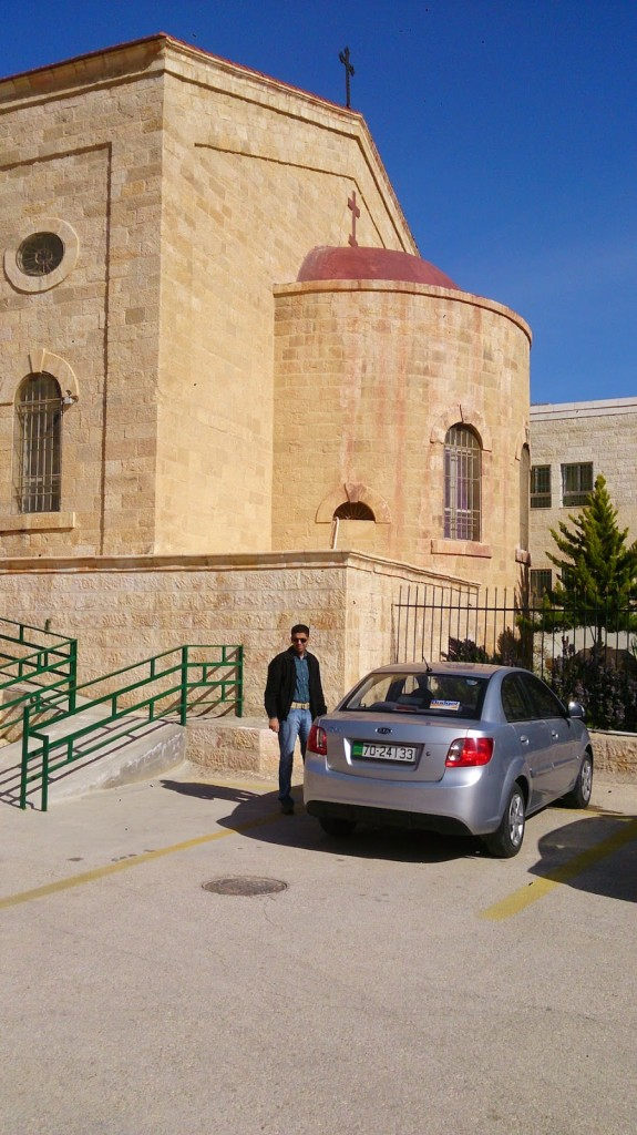 Jordan: Rented car with the phone used as GPS