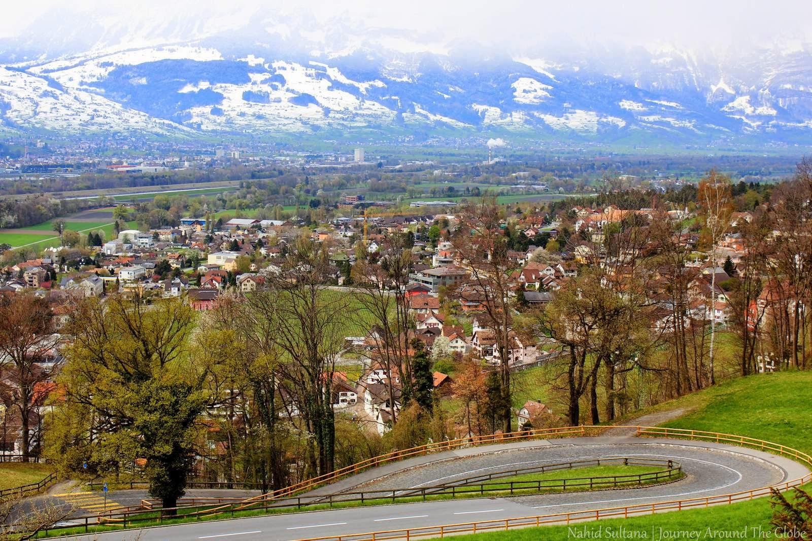 Leichtenstein - Looking over Swiss Alps Vaduz Castle Hill
