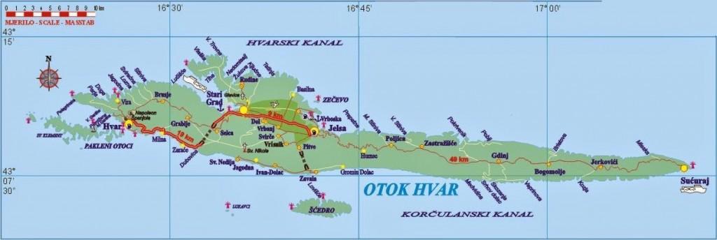 Hvar (map courtesy: www.hvarinfo.com)