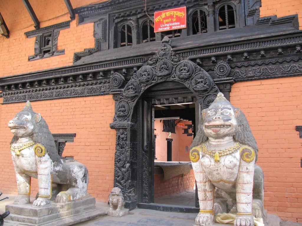 Lions at the entrance of the temple at Patan Square