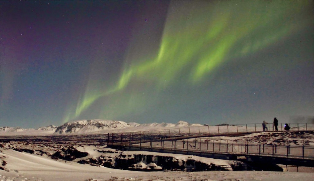 Northern Lights at Thingvellier National Park on a moon lit night