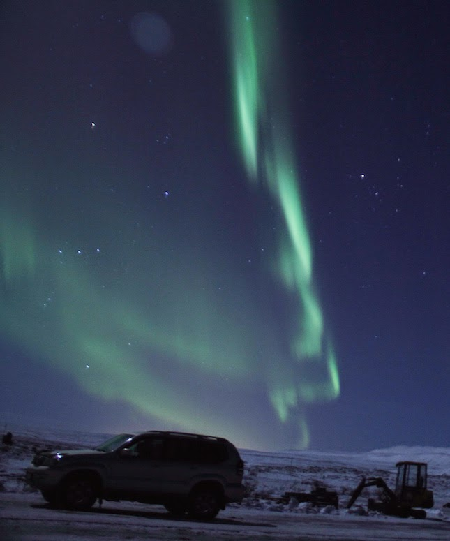 Northern Lights on a moonlit night
