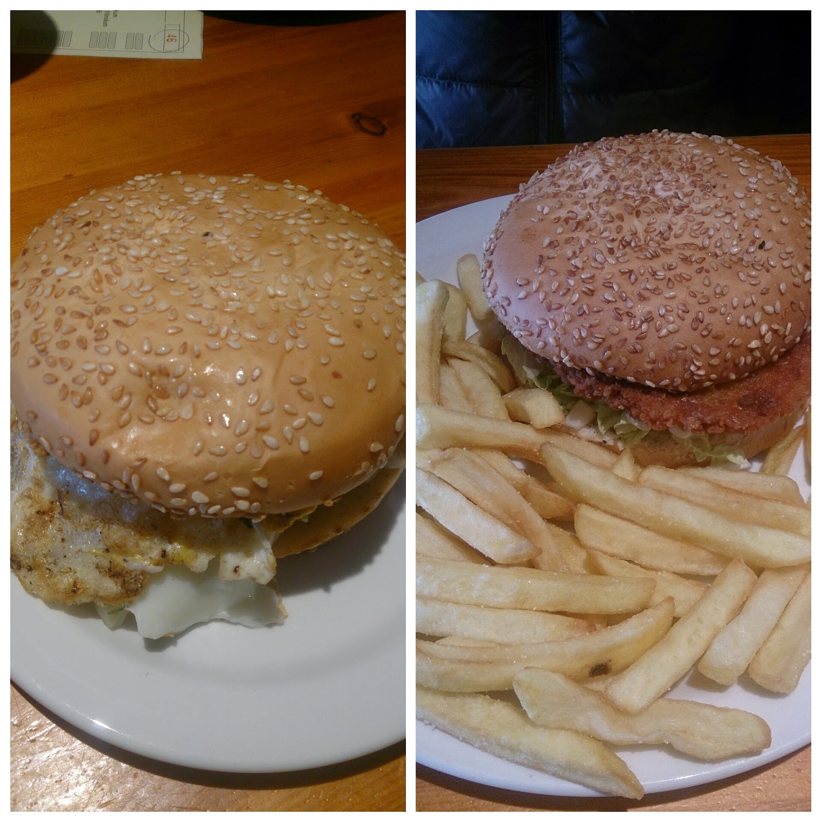 Vegetarian and Egg Burger...loved hot, fried food in the cold weather
