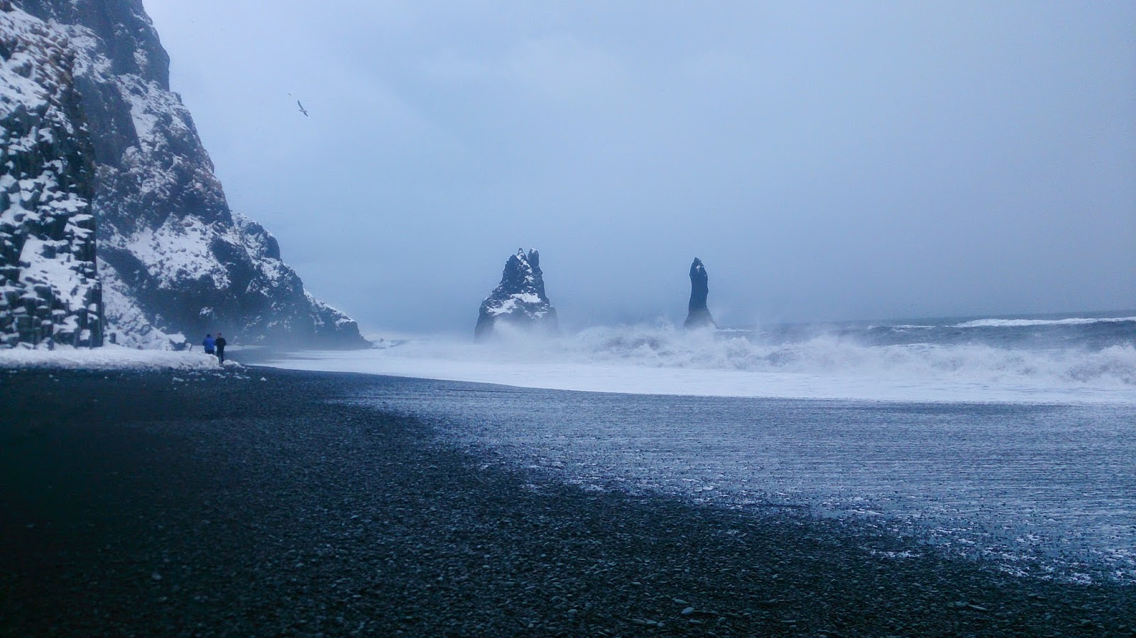 Black sand beach at Vik on a cold and rainy day
