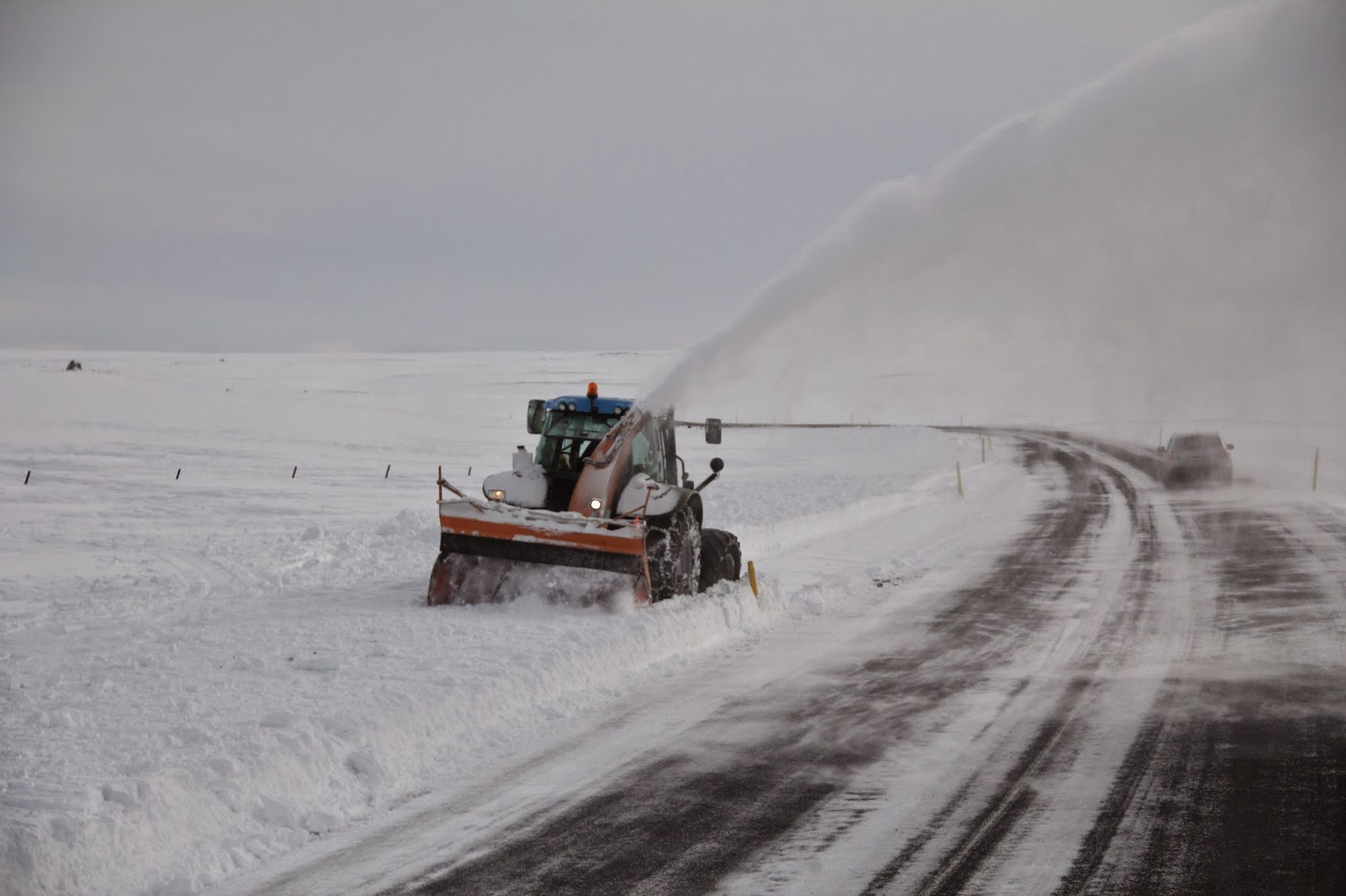 Snow being cleared after a blizzard