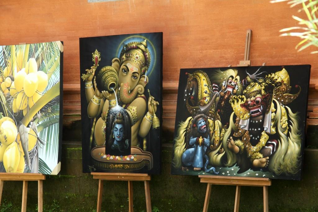 Ubud Paintings depicting Hindu Gods