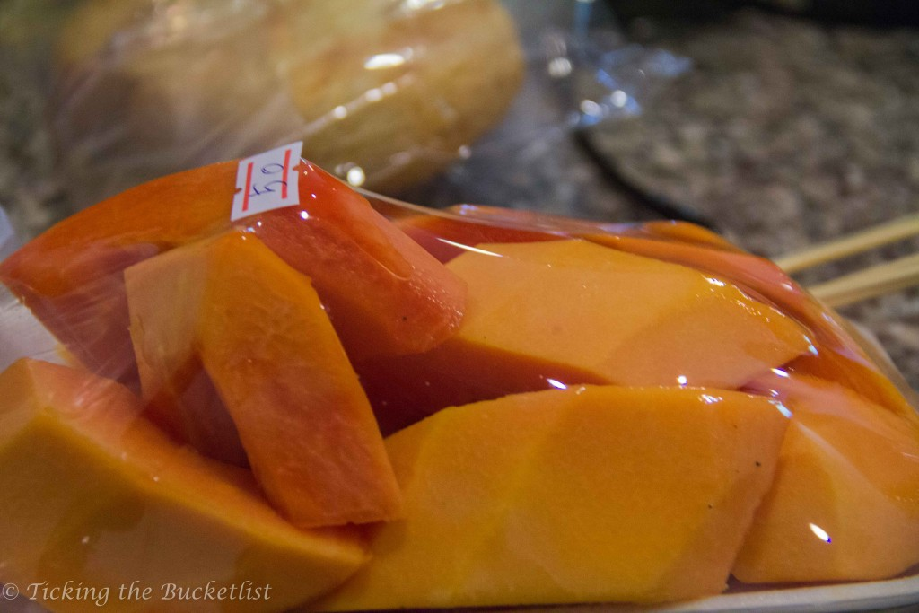 Fresh cut papaya at the Grand Palace 'food shop'