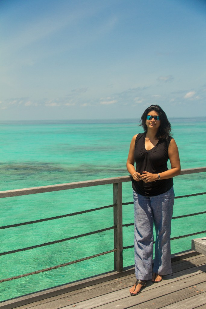 At the deck of the water bungalow
