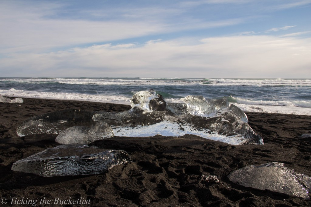 Balck sand beach in South Iceland