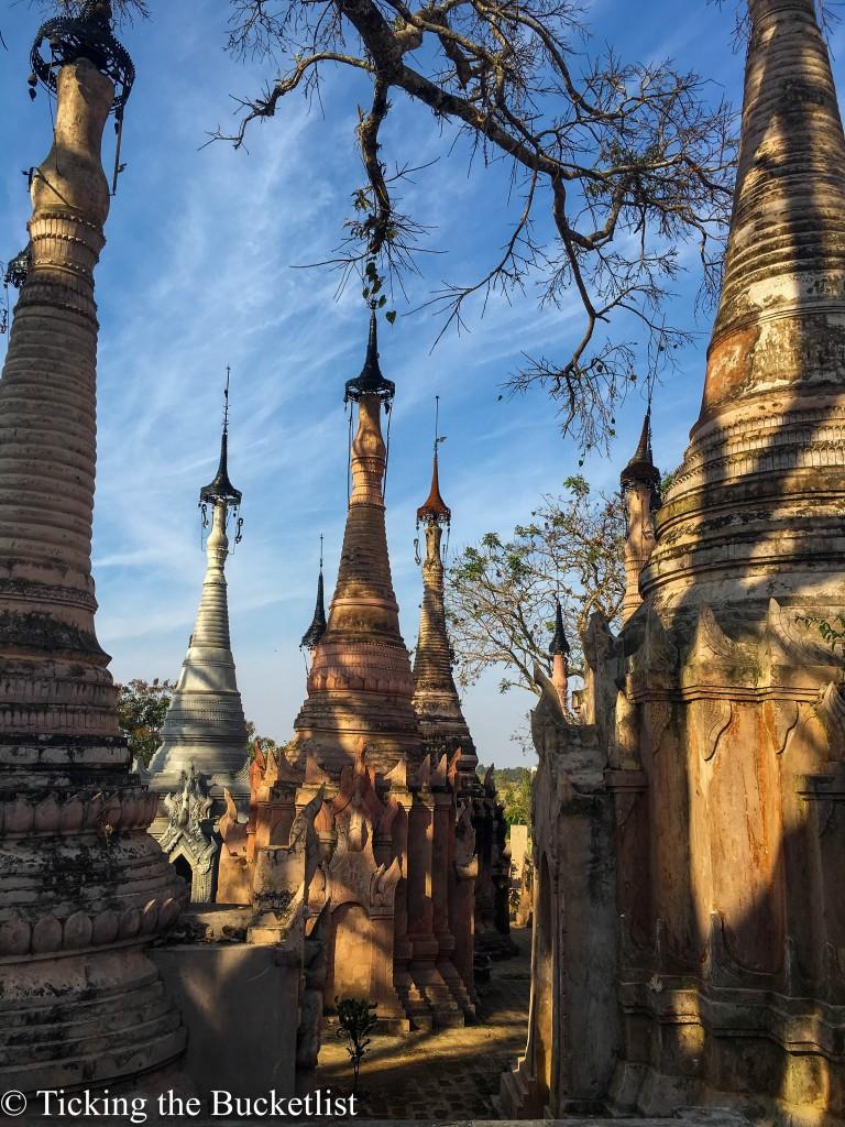 Kekku Pagodas at the foothills of the Shan hills