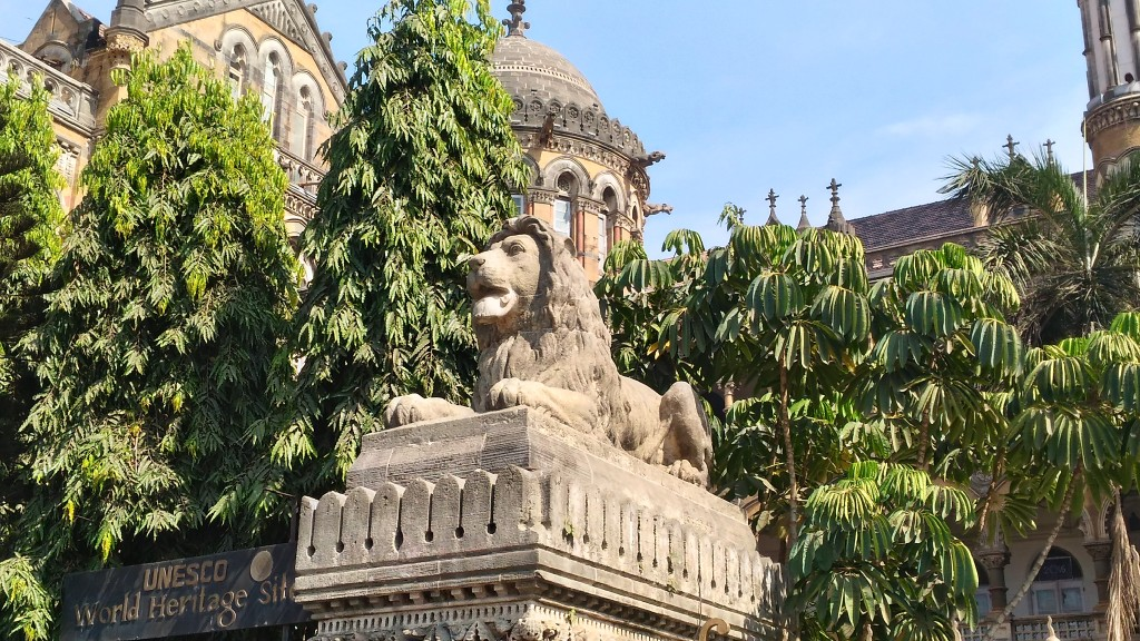 The lion on one of the columns