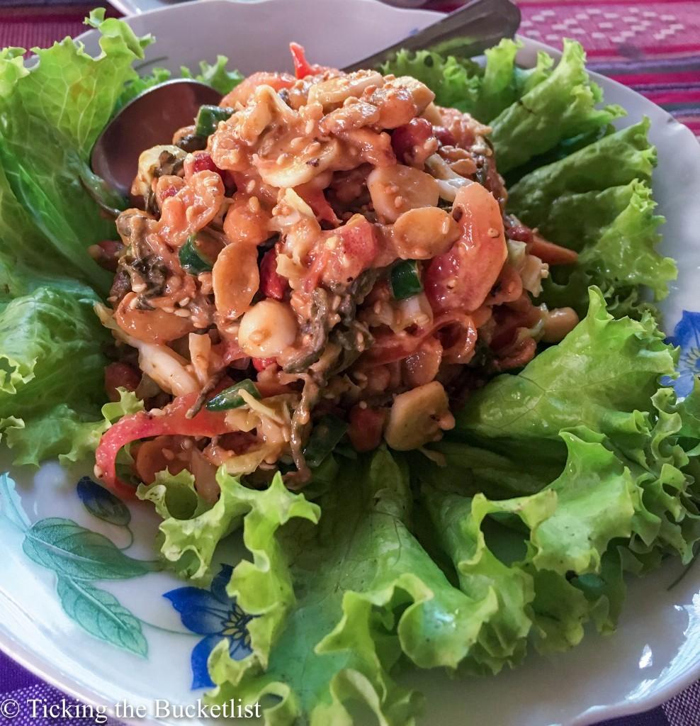 Fermented tea leaf salad