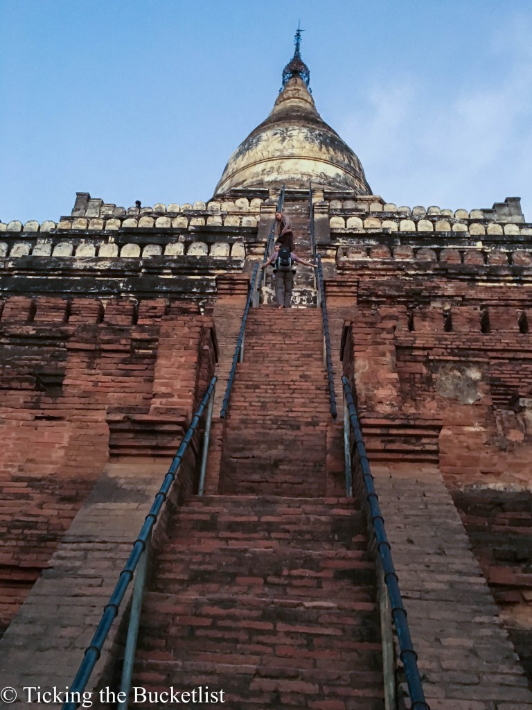 Walking up the steep steps at Shwe San Daw