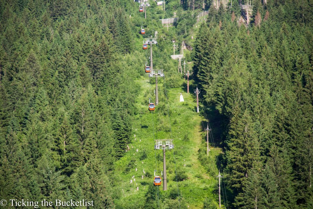 Cable cars rolling up and down at Bad Gastein